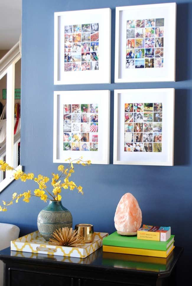 Set of frames framed with various photographs