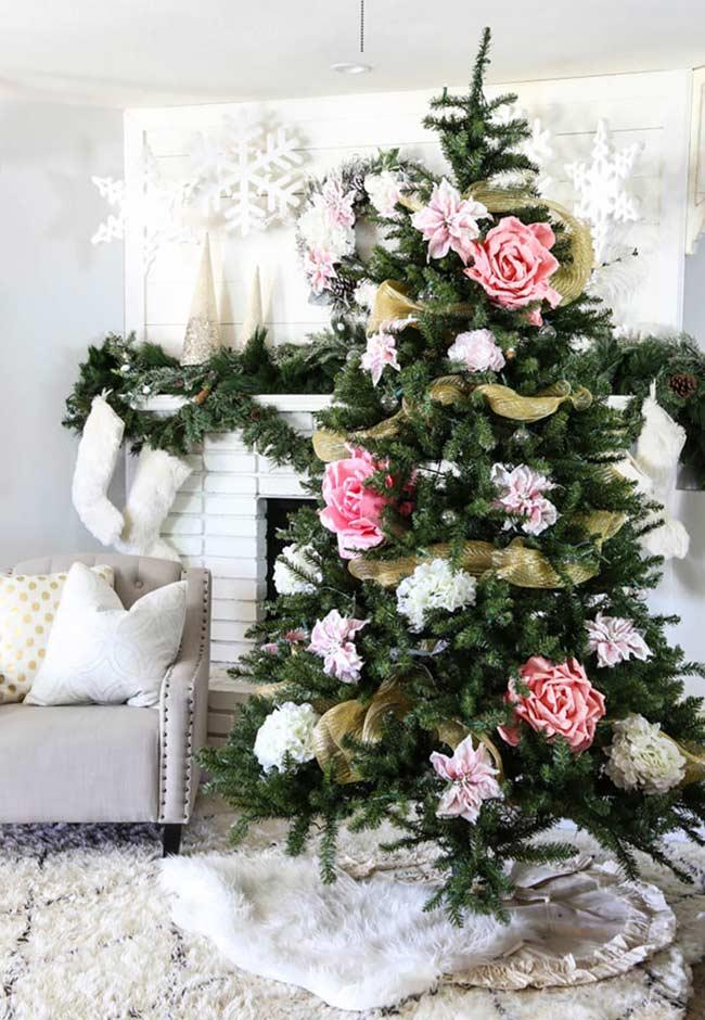Christmas tree with giant paper flowers