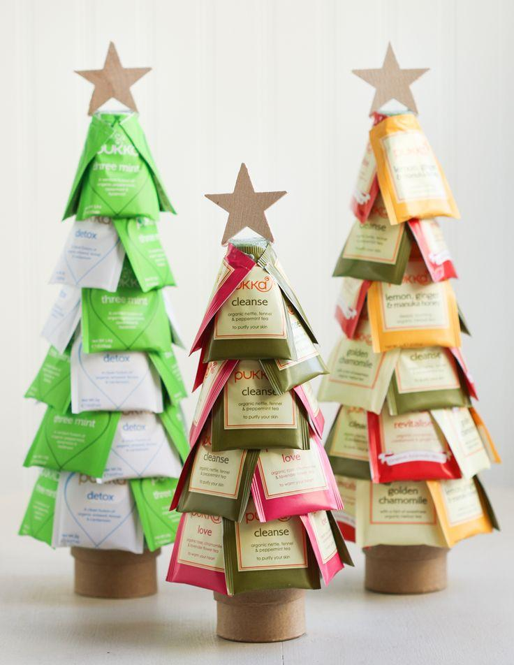 Roll of paper towel and tea packaging to make Christmas tree