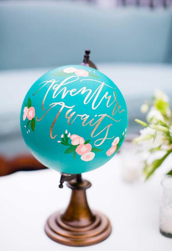 Stylized and painted globe with blue color Tiffany