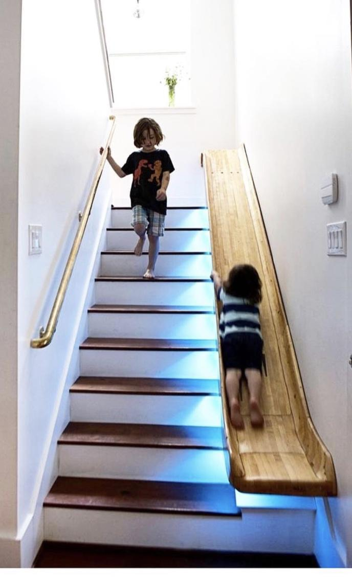 Creative idea: stair and slide to decide how you will go down to the floor below