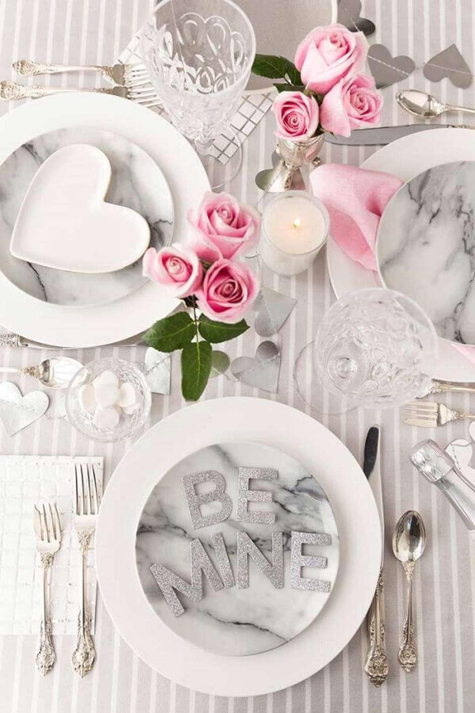 Table set for romantic meal