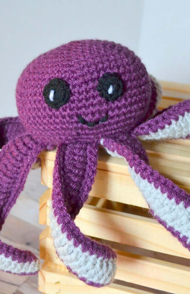 Purple crochet octopus