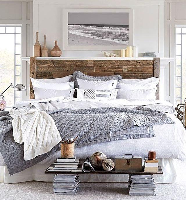 Headboard highlighted in room with clean decor.