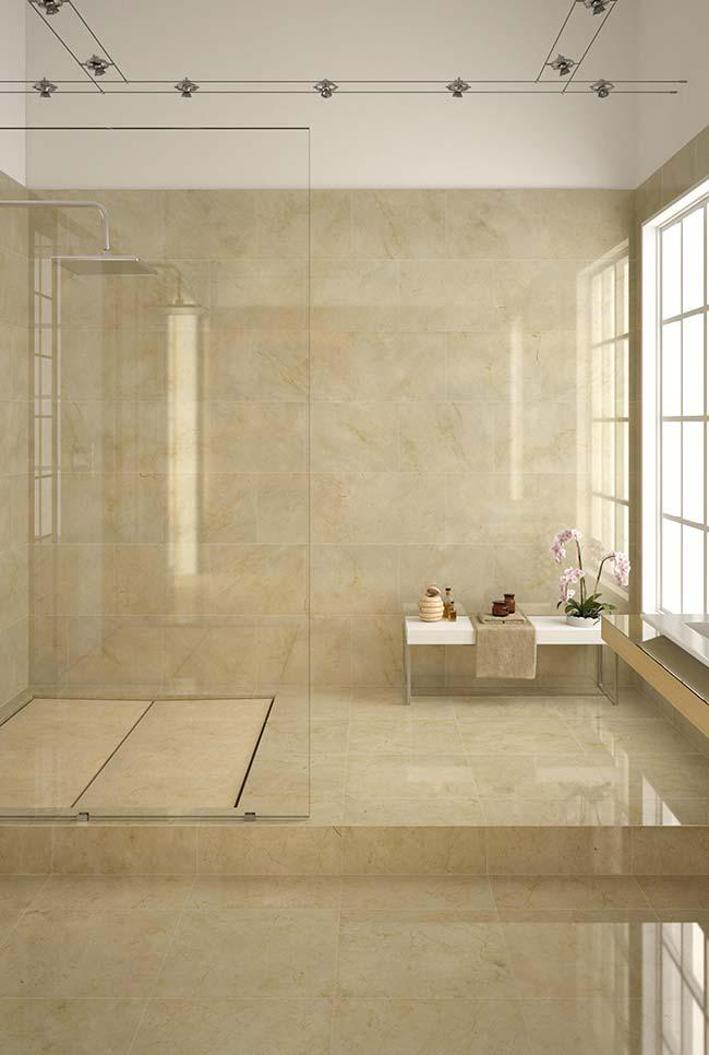 Notice the uniformity of shades of the marble Crema Marfil