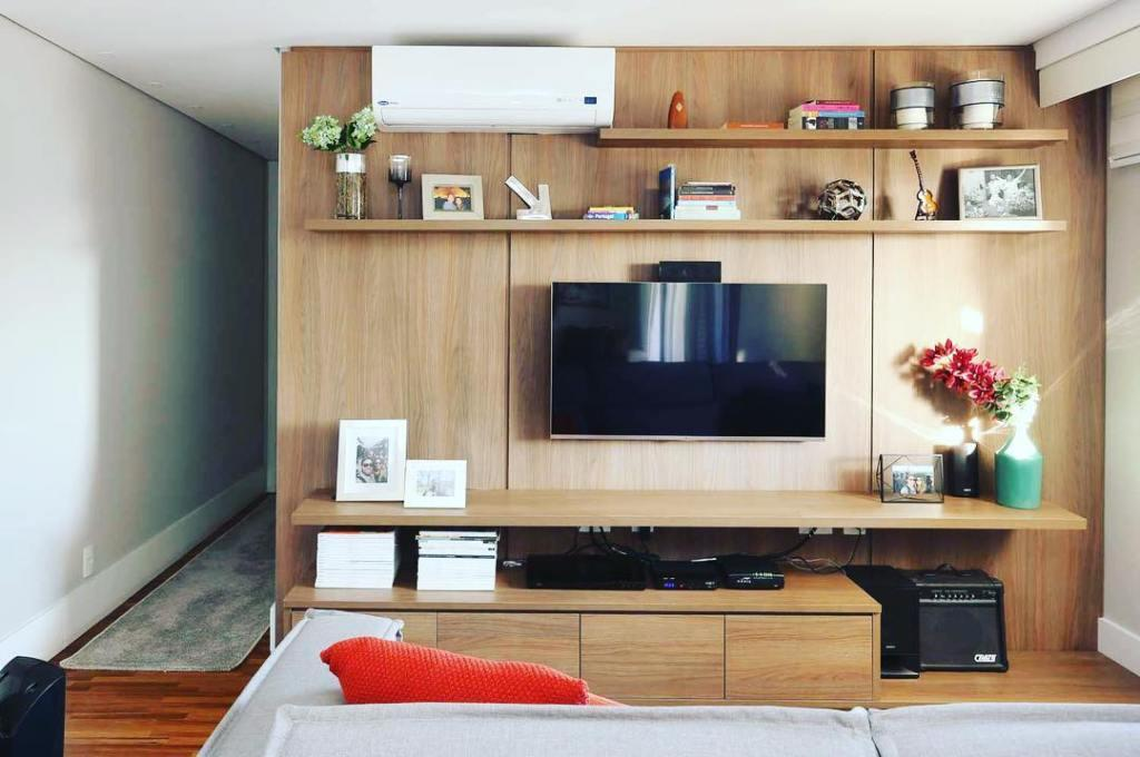 Living room with wood panel