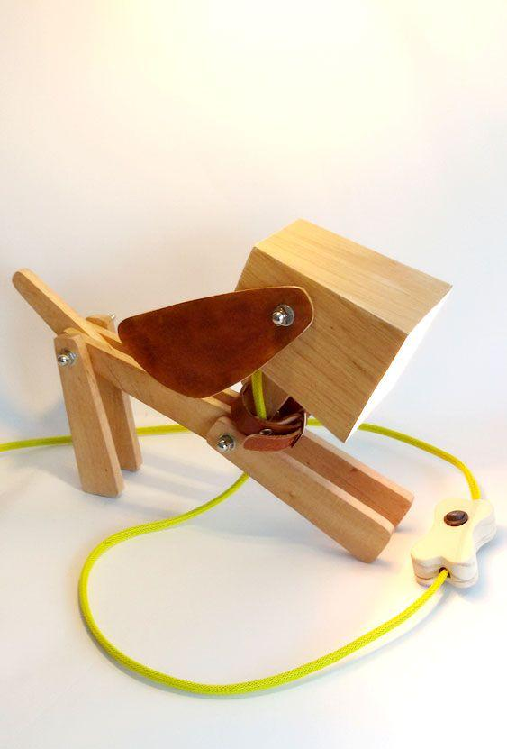 Wooden lamp in dog shape