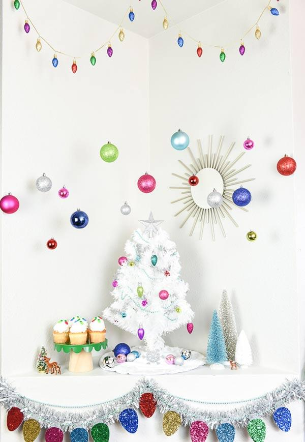 White tree and a colorful Christmas.