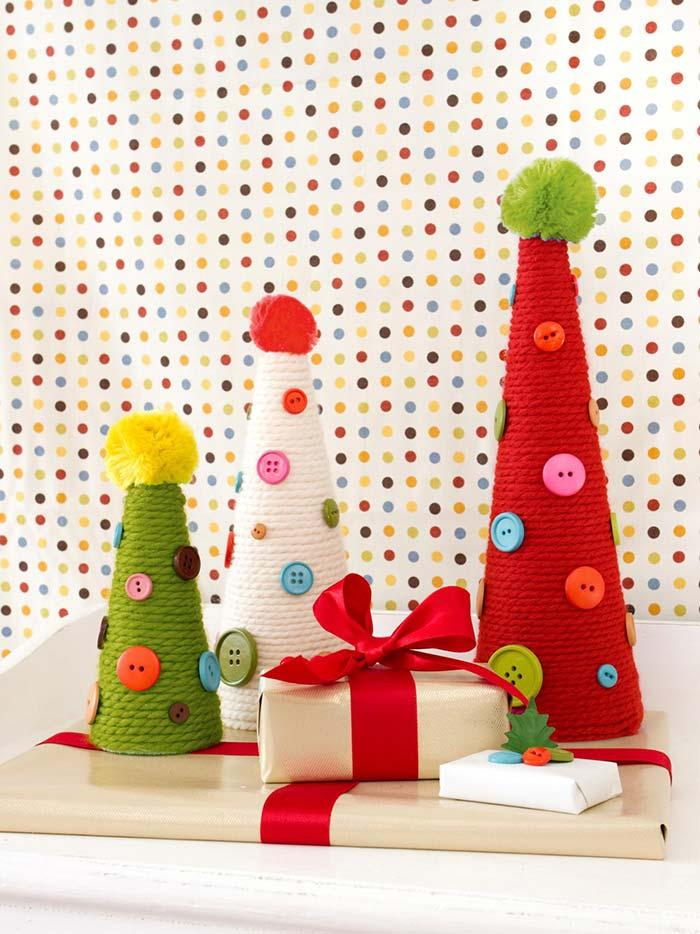 Christmas tree with woolen rolls