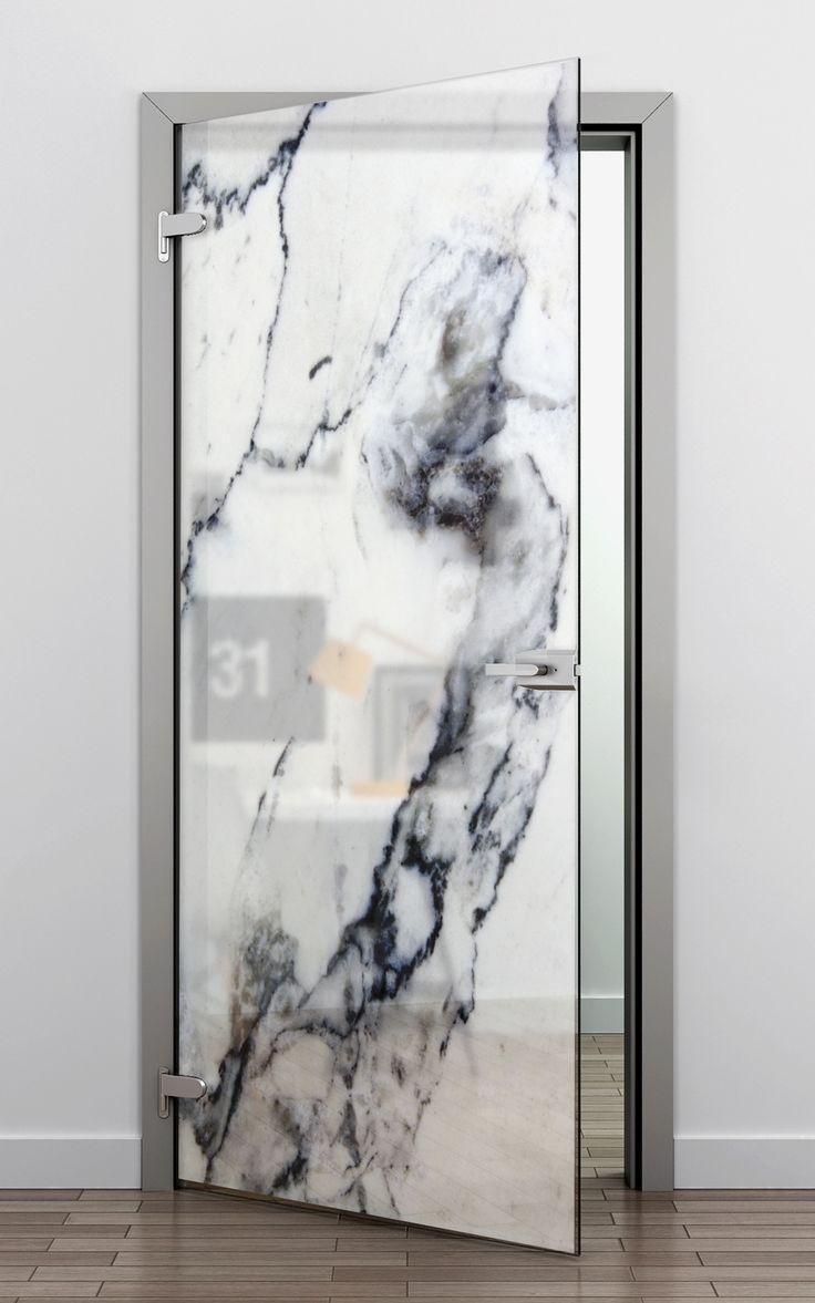 Glass door with marble adhesive