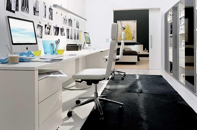Home office with photo decoration