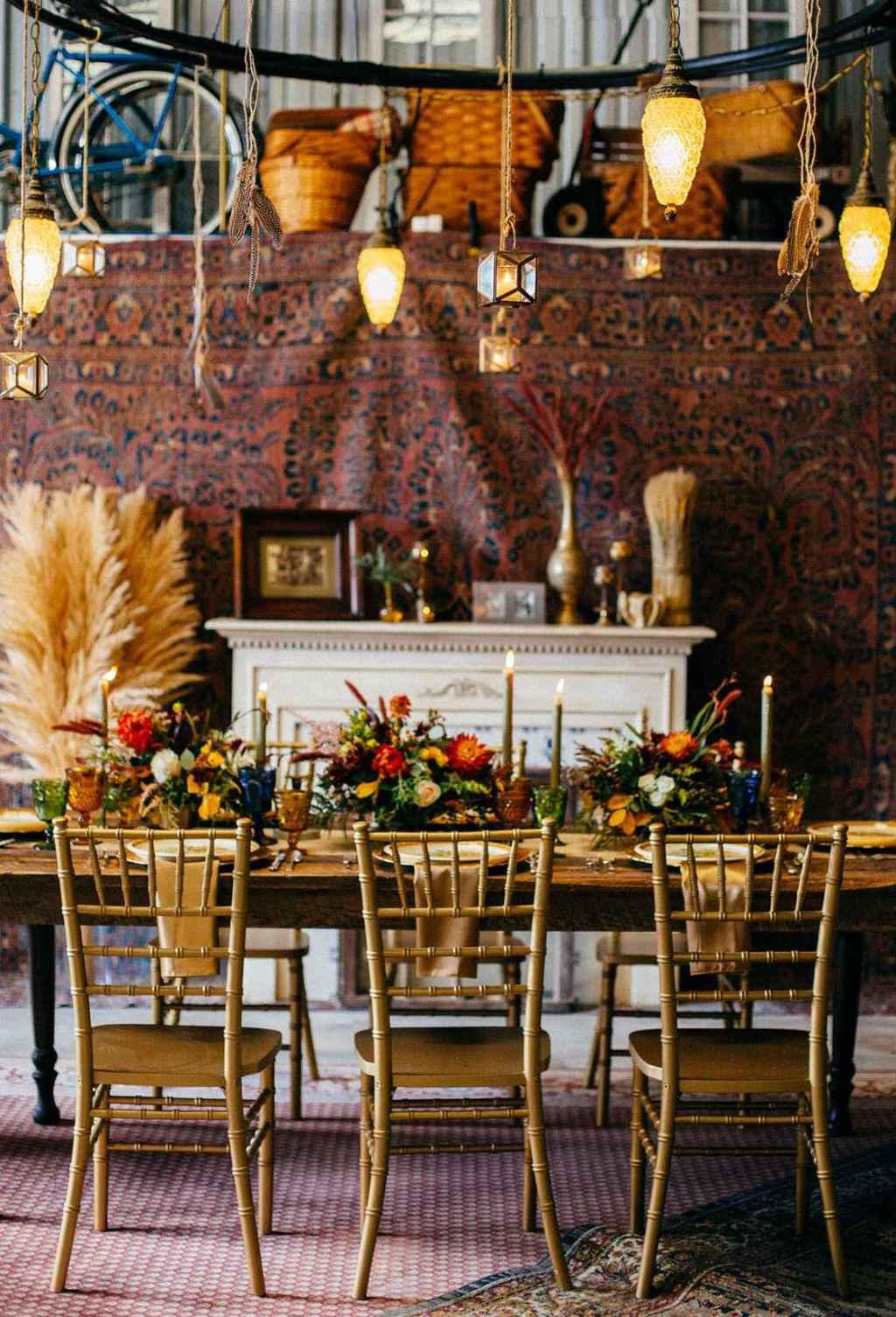 Golden wedding decoration: 60 ideas with photos to inspire 45