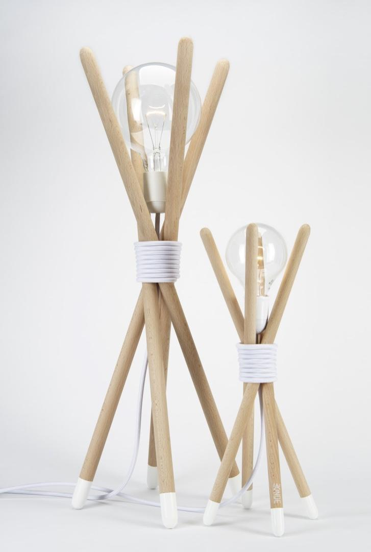 Broomsticks transformed into luminaire