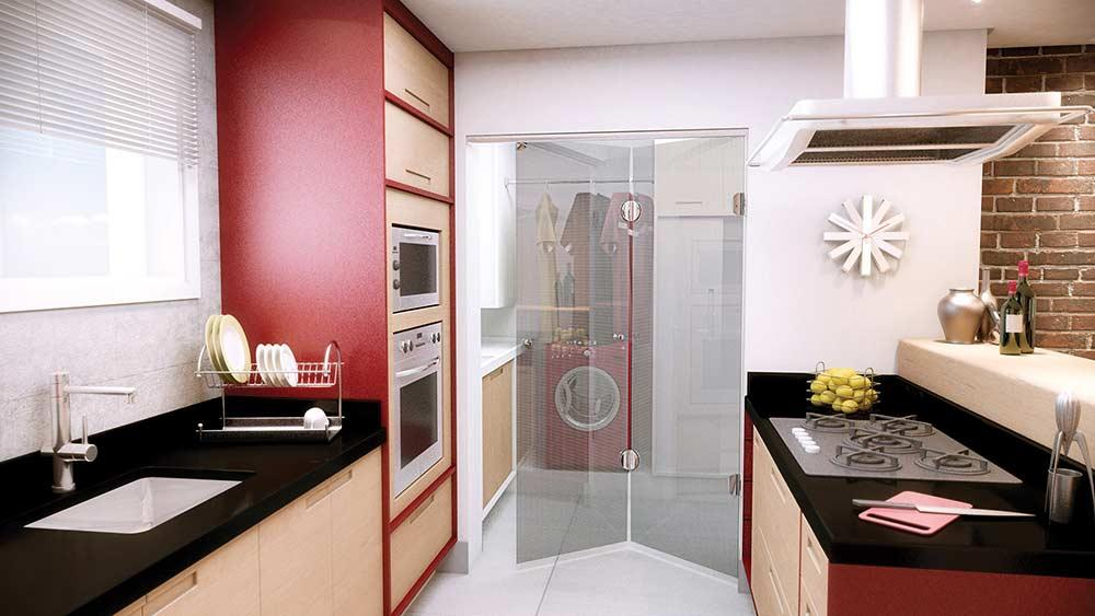 Glass door for integrated kitchen