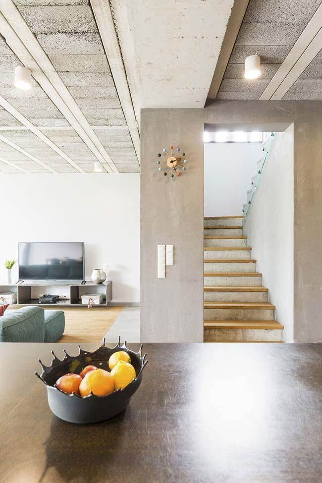 Concrete ladder with wooden steps