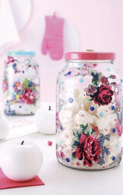 Glass with decoupage