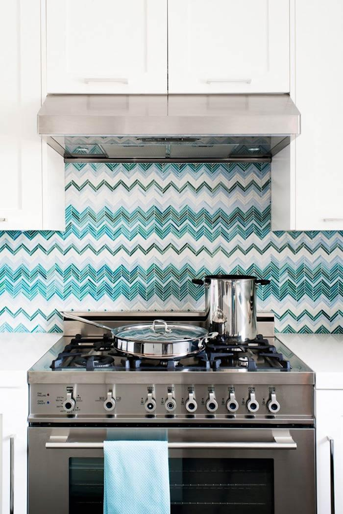Chevron with turquoise blue color