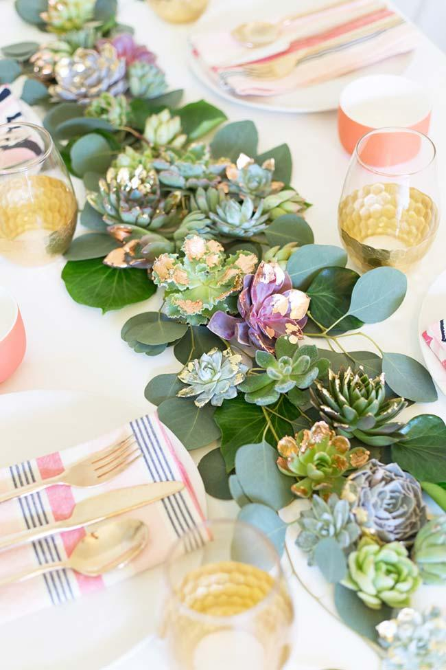 Party table decorated with succulents