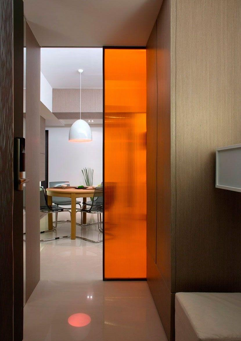 Glass door with an orange touch