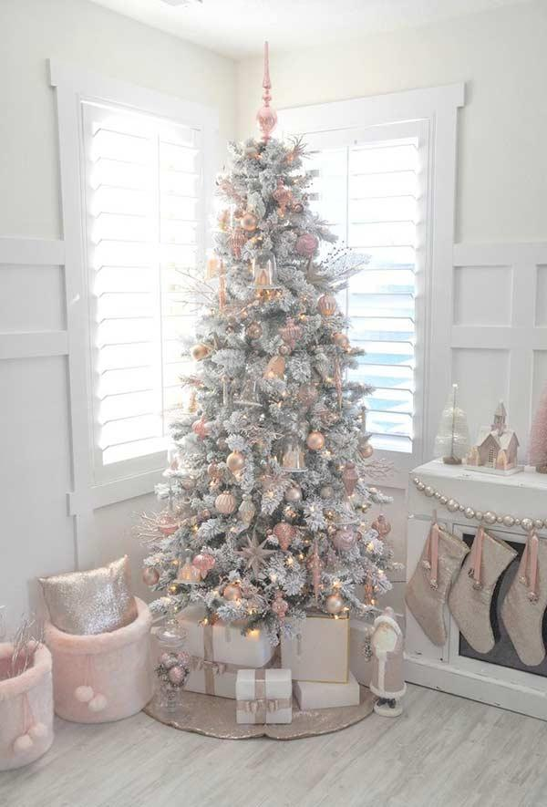 Tree and white ornaments with pastel shades