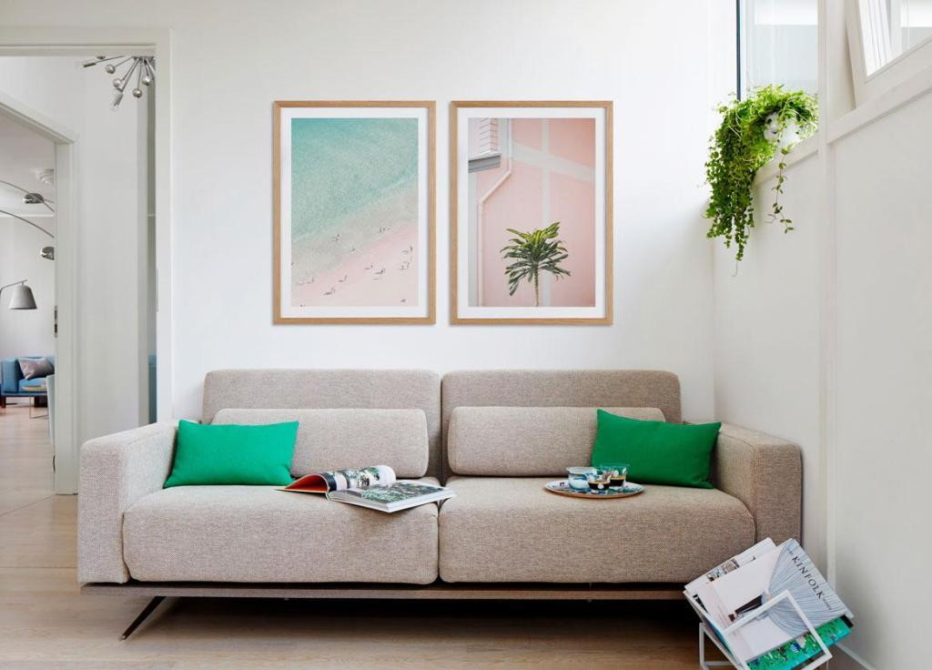 Small living room in pastel colors