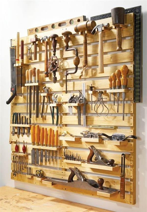 Arrange tools with dowels on the panel