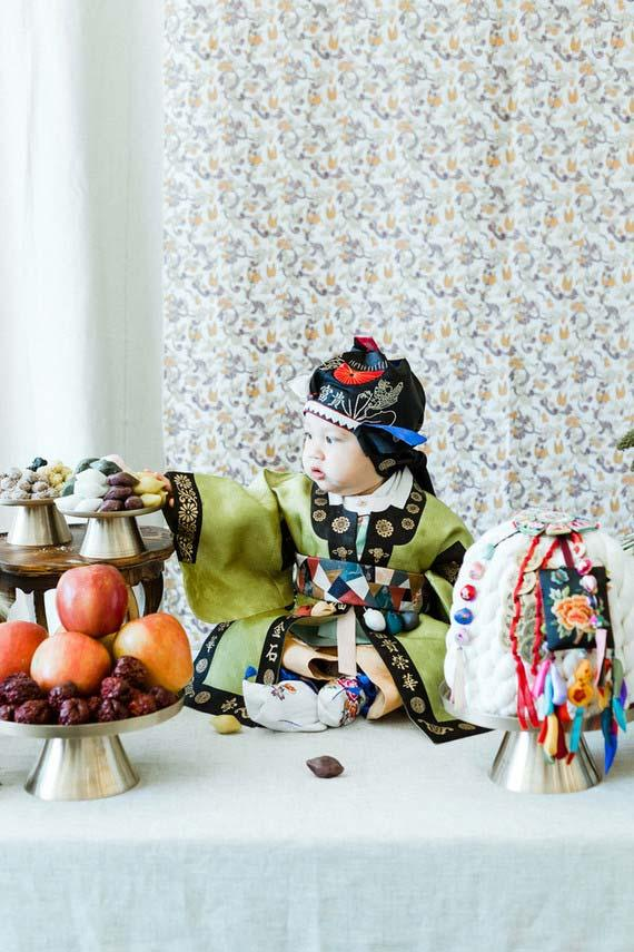 Baby backpacker with oriental theme