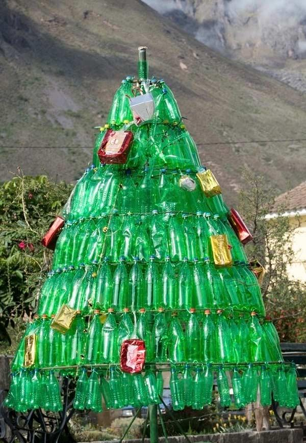 Iron christmas tree with PET bottles
