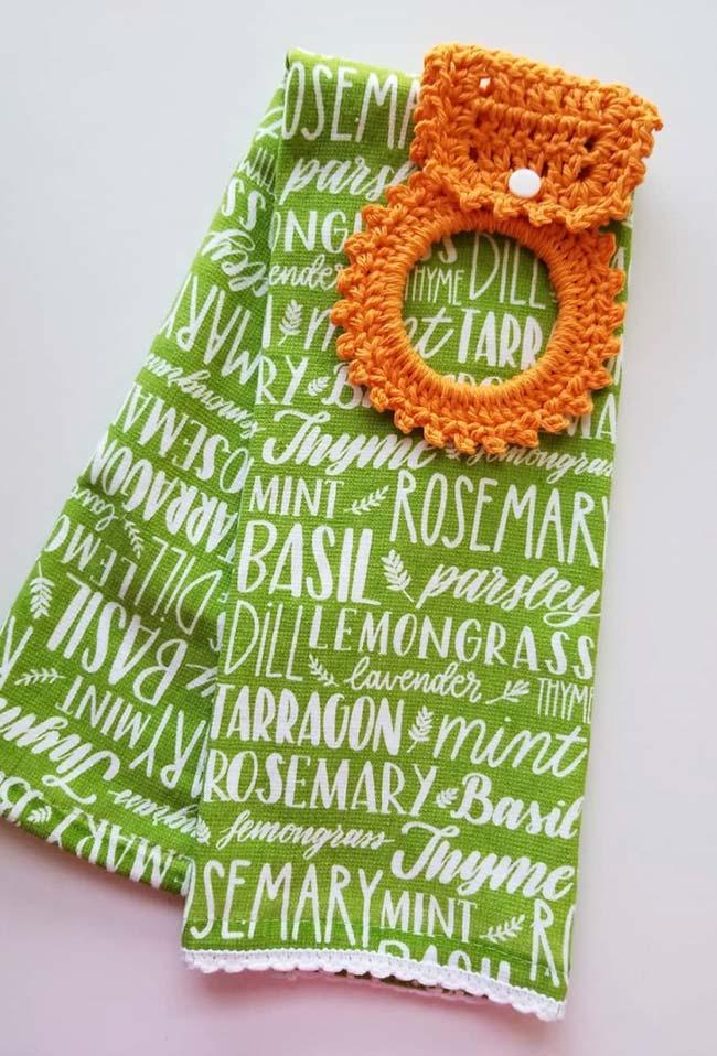 Crocheted orange dish towel holder