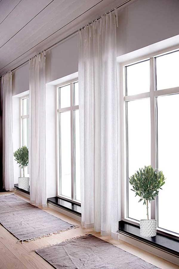 Environment with white linen curtain