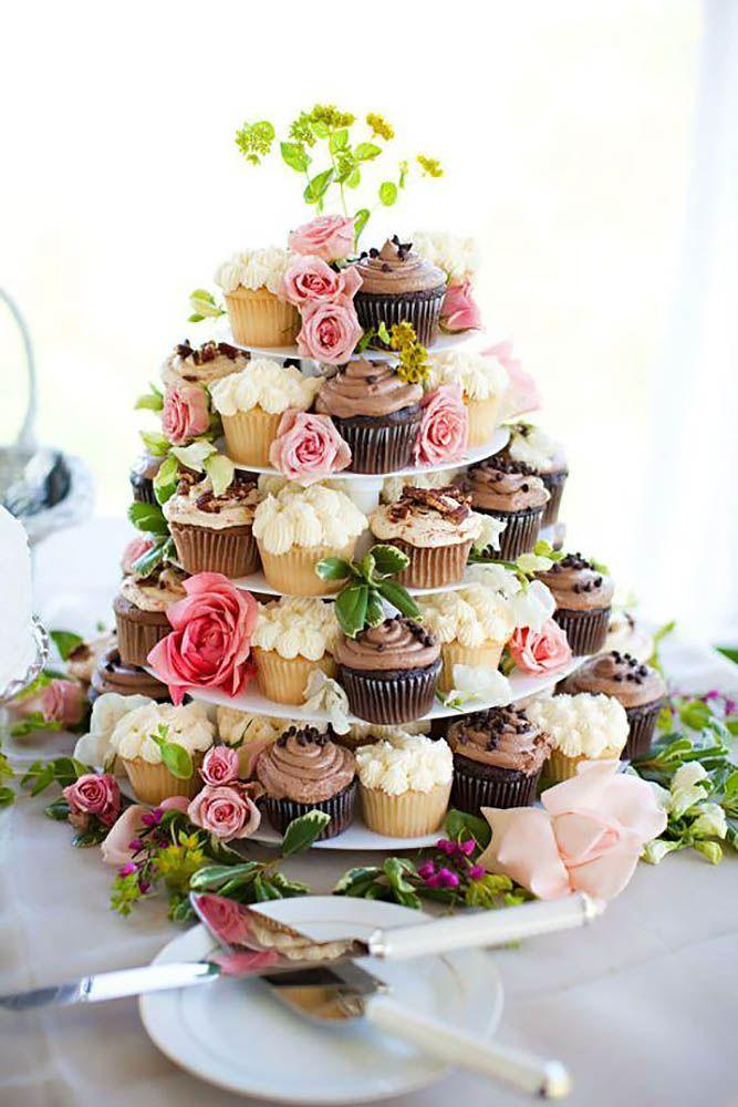 Flowery tower of cupcakes for cheap wedding