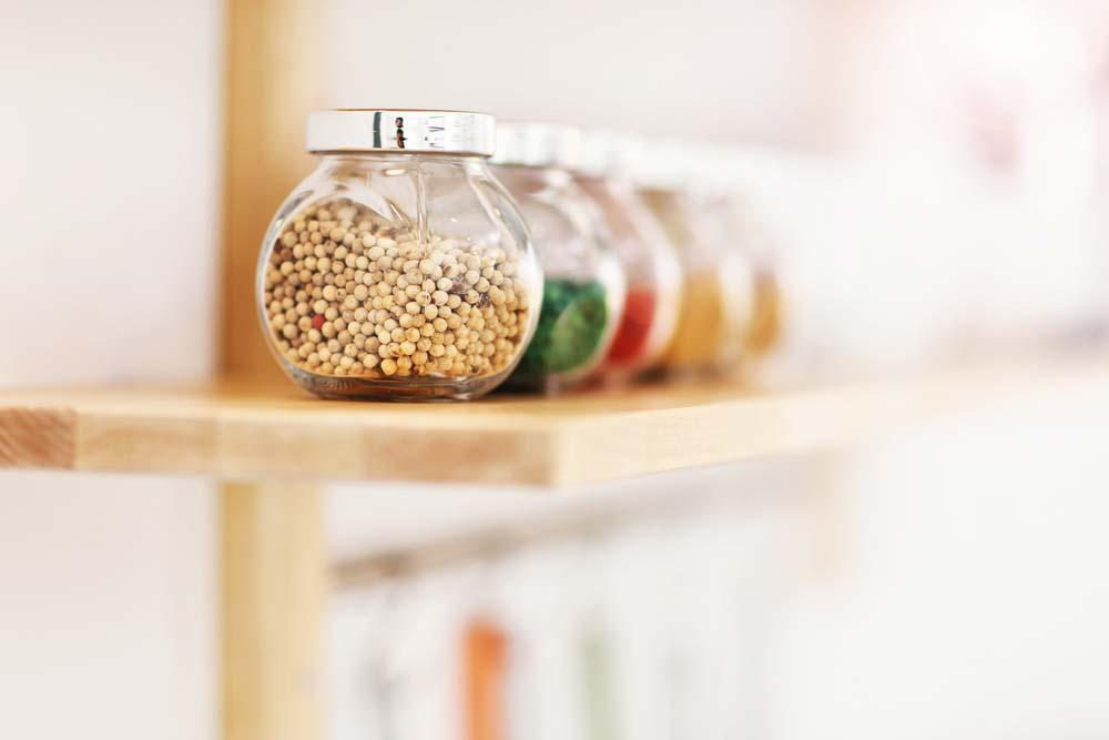 Glass jars to organize small kitchen