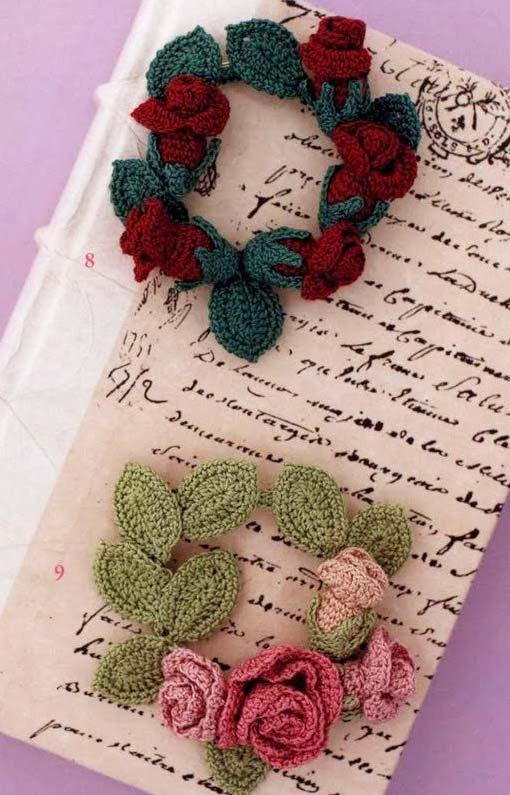 Notebook cover with crochet rose garland