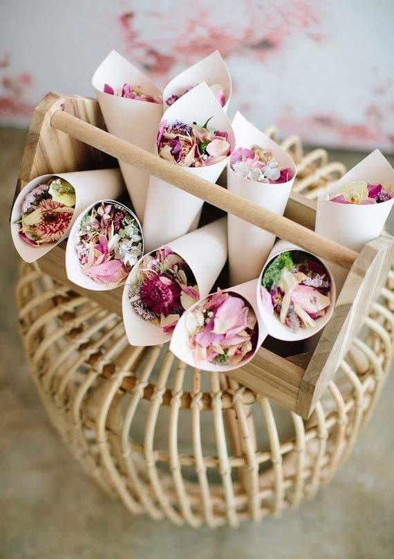 Paper colors with flower petals on 15 year old souvenirs