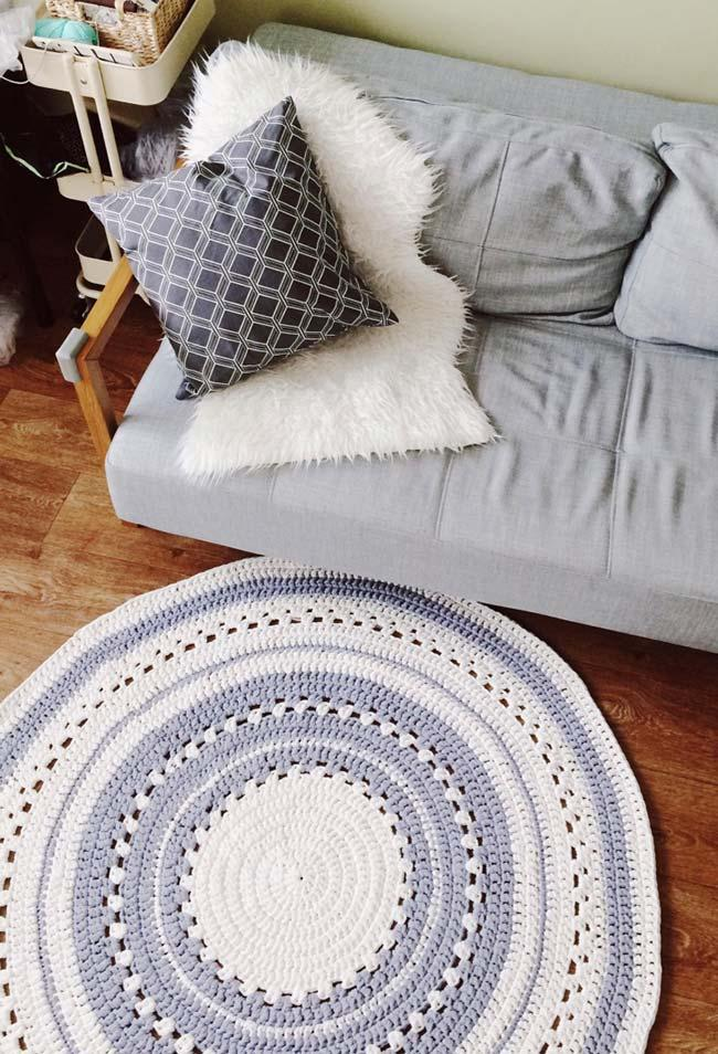 Round crochet rug for room made with graphic
