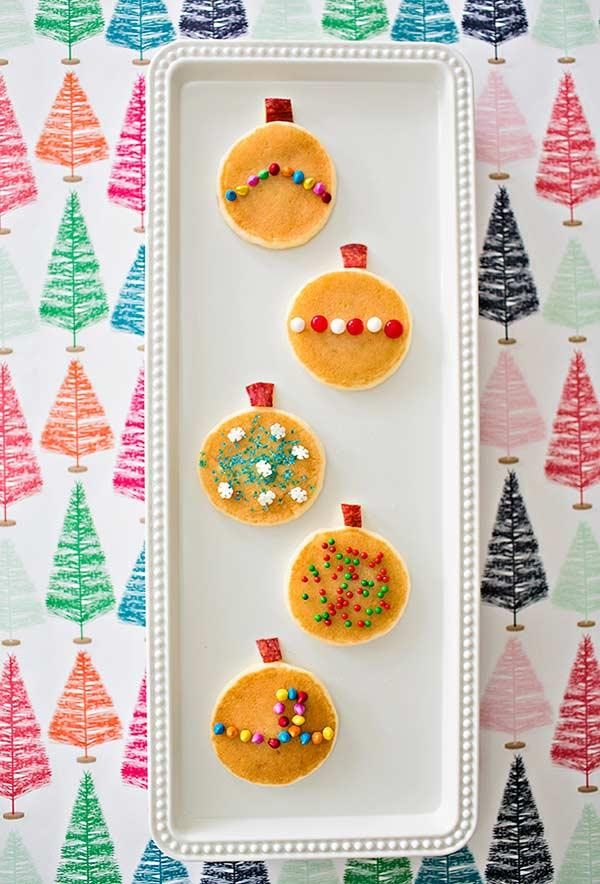 Mini Pancakes Decorating in Christmas Ball Style