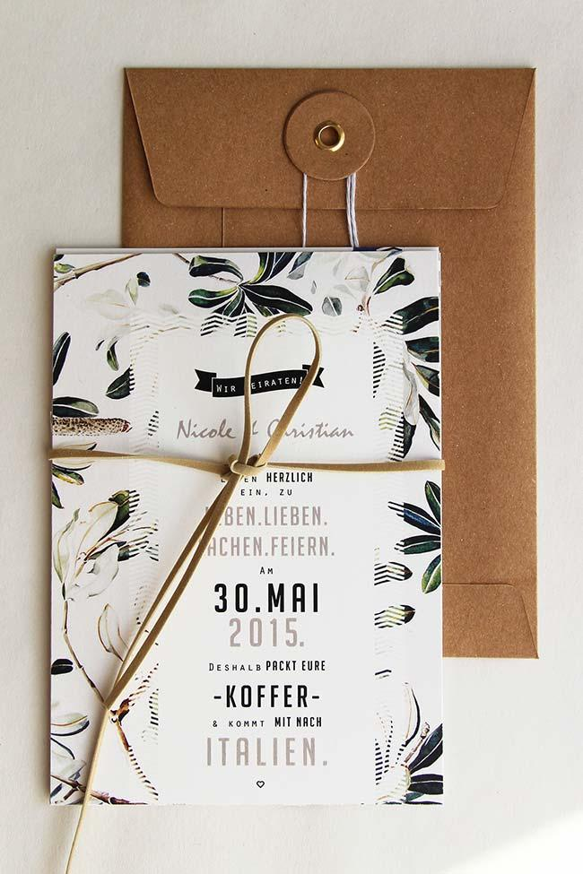 The simple wedding invitation already indicates the theme of the party