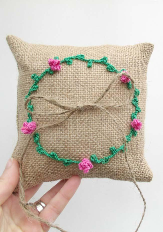 Jute Pillow with Crochet Roses