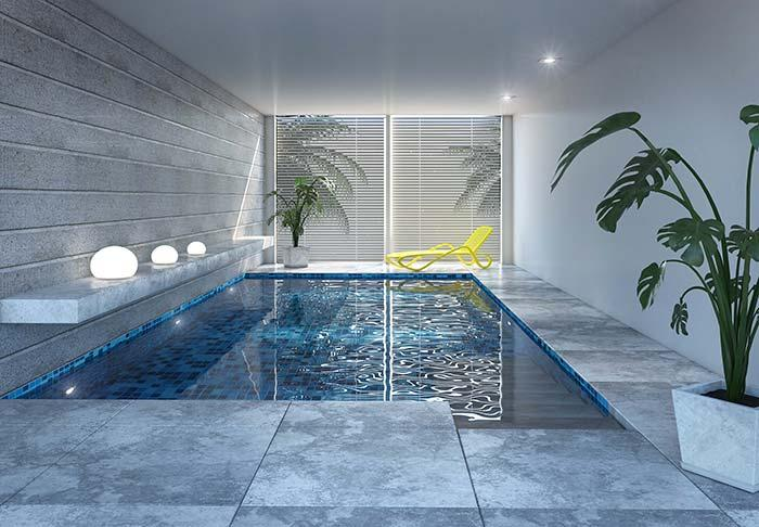 Modern gray pool floor
