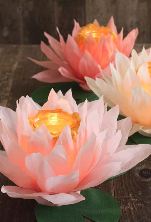 DIY Wedding Decoration: Lotus Flowers with Candles in the Center