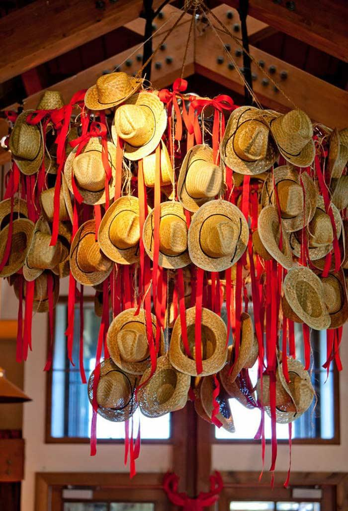 Ceiling decoration with straw hats