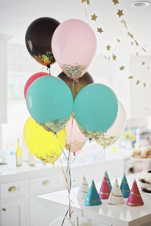 Balloons with glitter on the base; very simple and easy to do