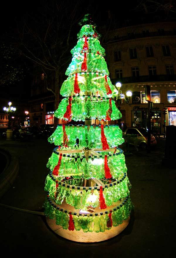 Christmas tree with crushed PET bottles