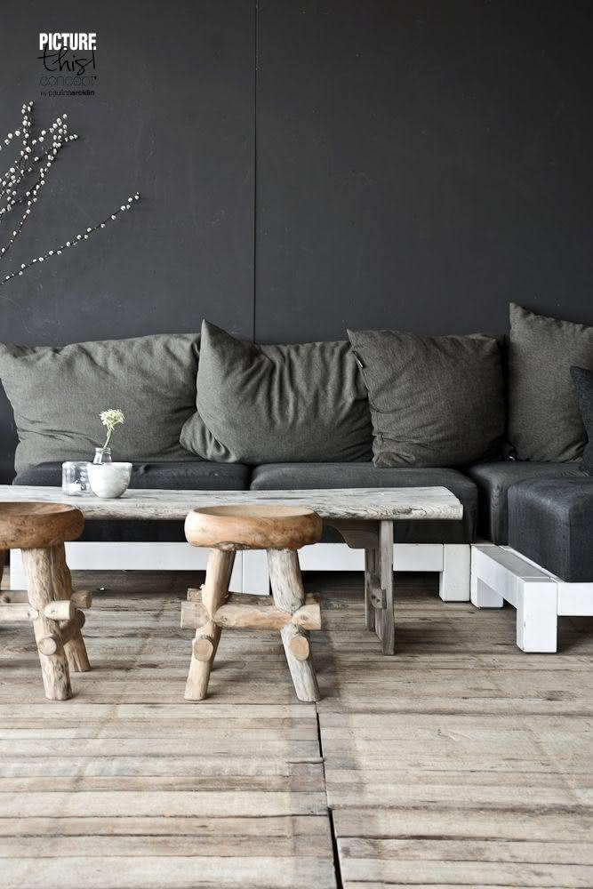 Pallet sofa with white paint and graphite upholstery