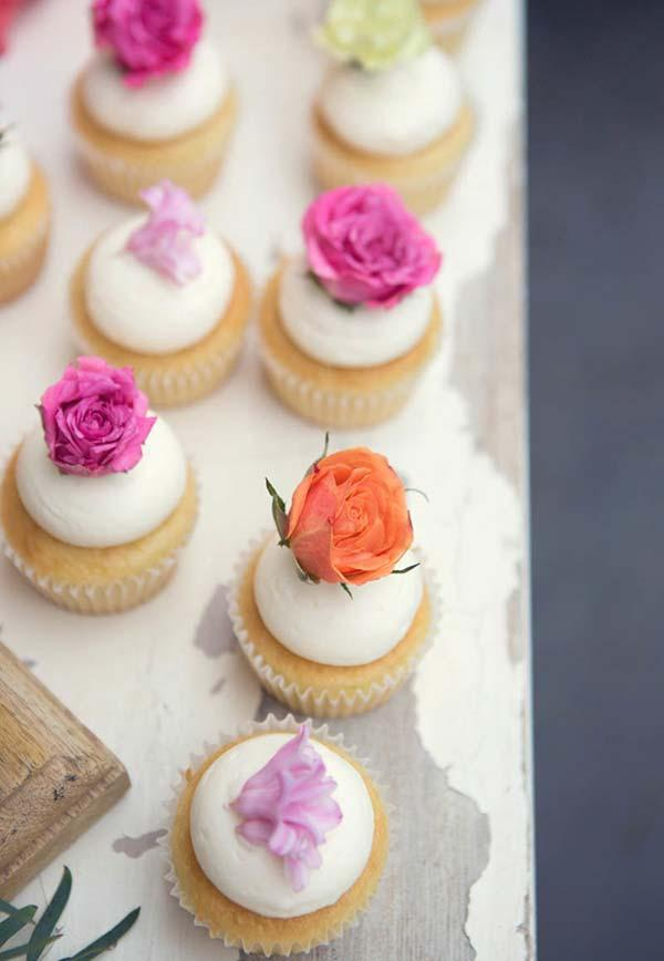 Cupcake decoration with edible flowers