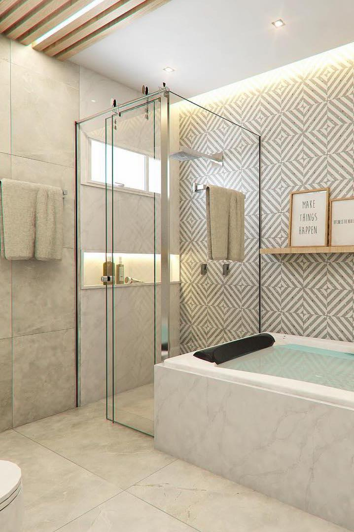 Floor and wall with the same porcelain tile