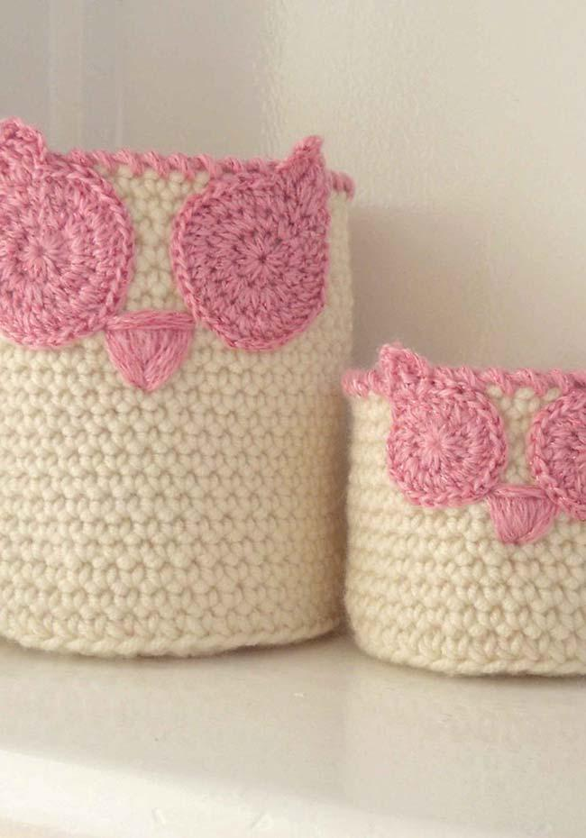 Bowls and pots coated with crochet owls