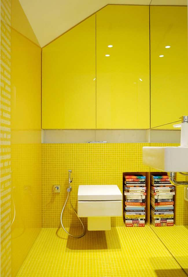 Bathroom decorated with yellow Canary