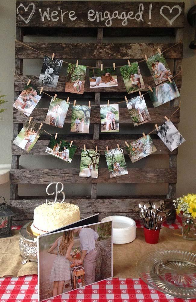 Simple engagement party with pallet panel
