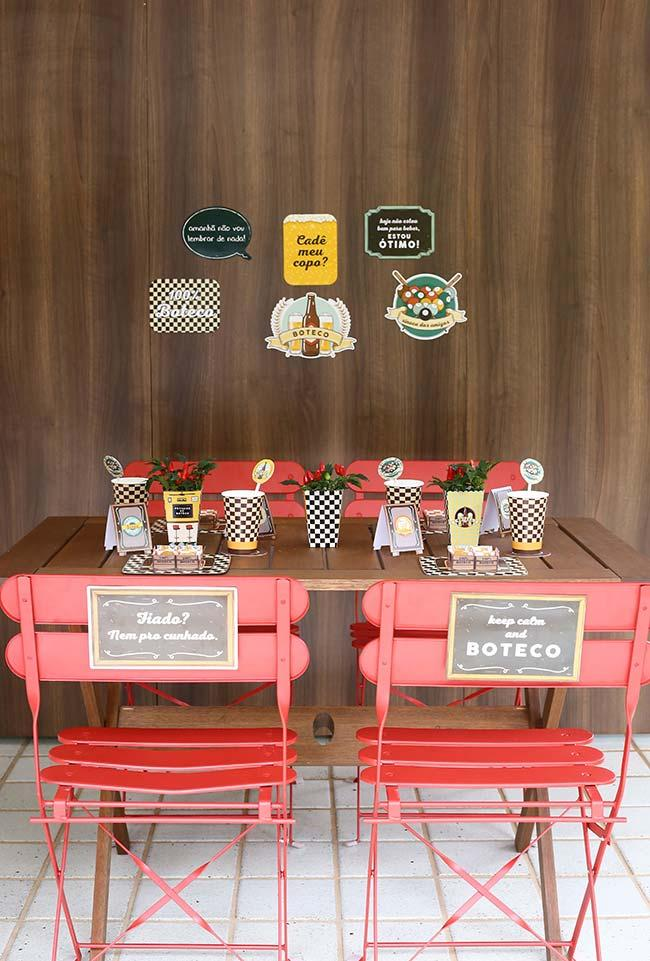Idea of decoration of table for party simple bar